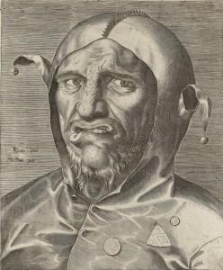 Philips Galle, Portret van een nar, ca 1570, gravure, collectie Noord-Hollands Archief, Haarlem
